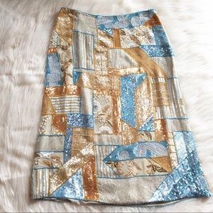 Escada silk skirt beaded sequins designer 36 / 6